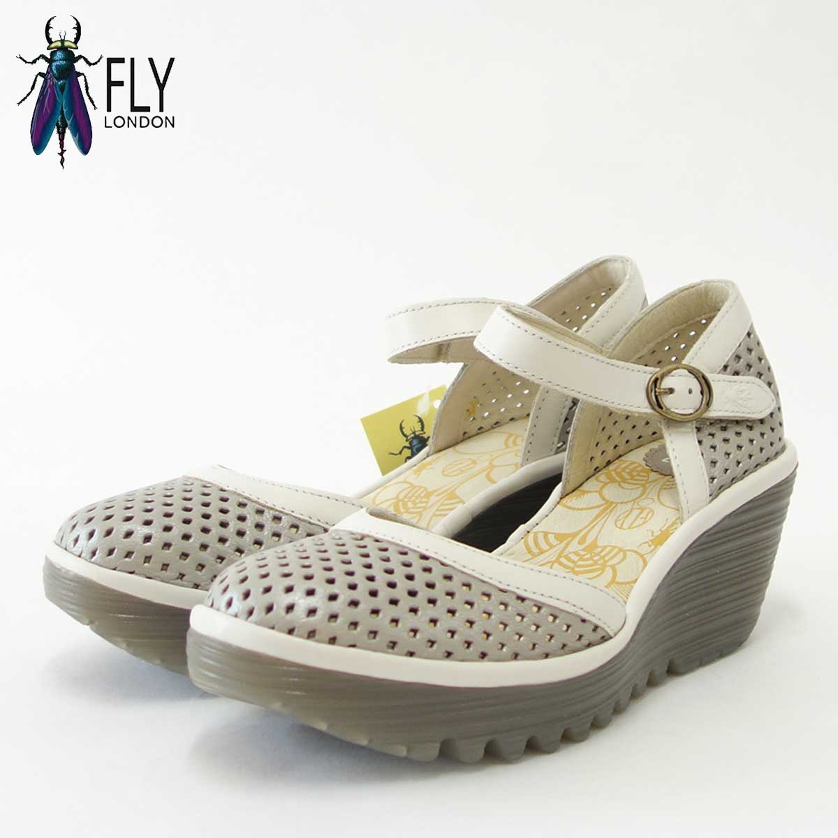 FLY LONDON フライロンドンYIPI840FLY 500840 009 シルバーアンクルストラップシューズ「靴」