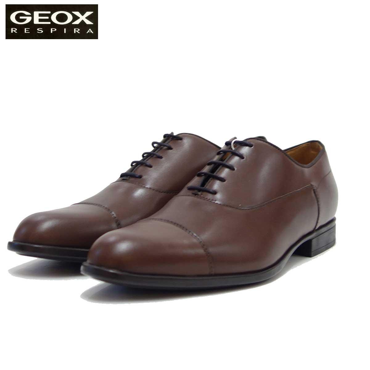 GEOX ジェオックス U 029GB ブラウン(メンズ) 上質レザーのビジネスシューズ 「靴」