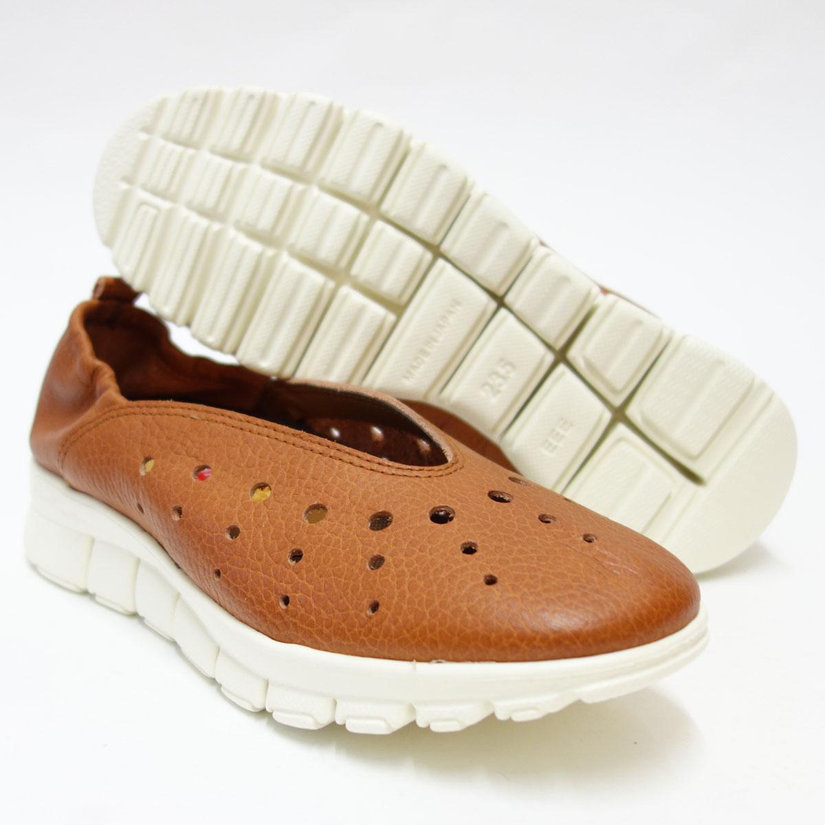 軽量・ゆったりEEEの楽ちんシューズHina Day Green ヒナ 7010 ブリック (レディース)日本製天然皮革のカジュアルシューズ 「靴」