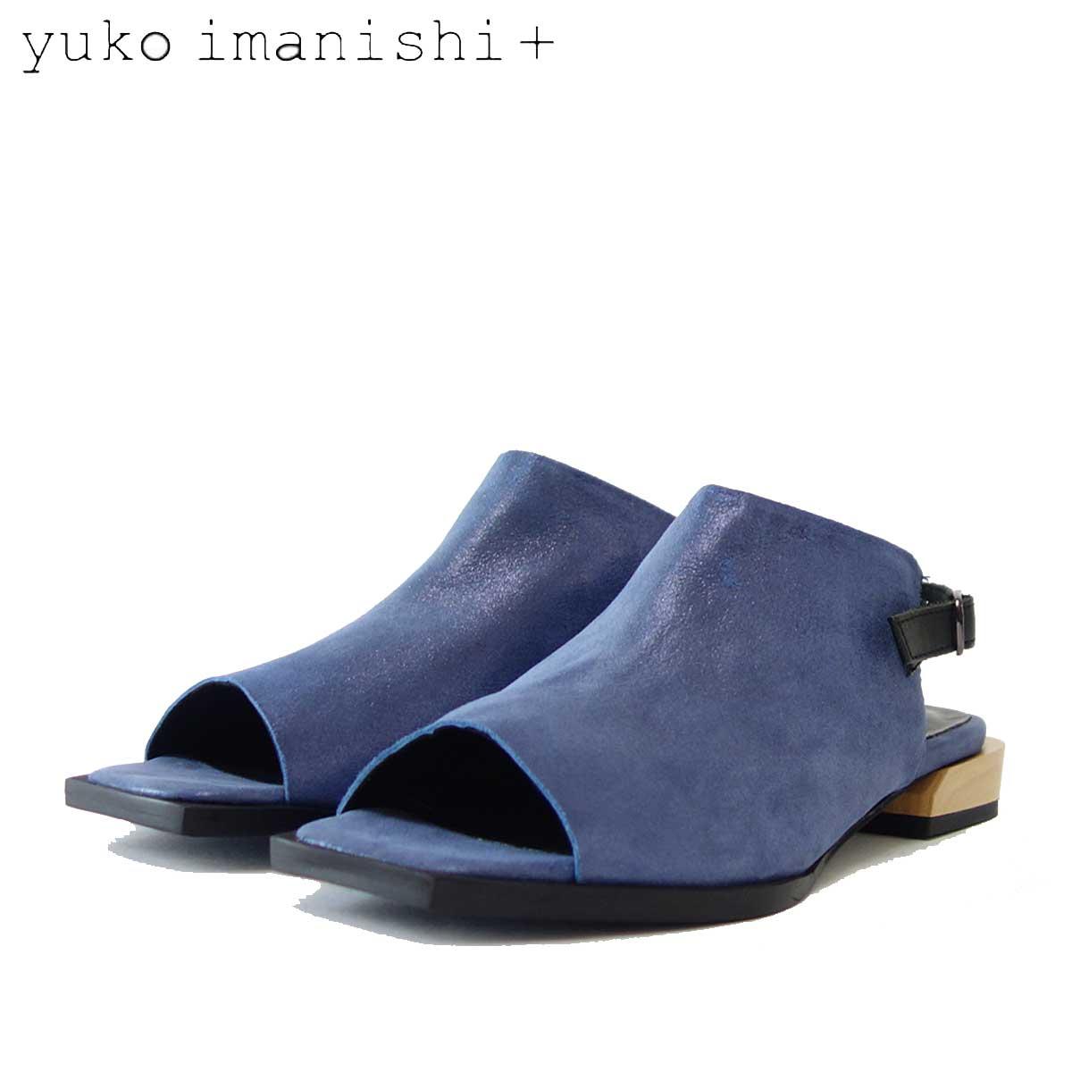 【スーパーDEAL30%ポイントバック】ユーコ イマニシ yuko imanishi +  792012 ブルーメタリック オープントゥ フラットサンダル 「靴」