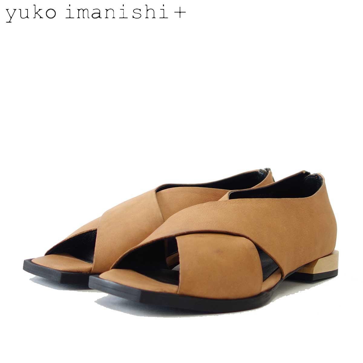 yuko imanishi + ユーコ イマニシ+ 792014 ブラウン クロスベルトのオープントゥカッターシューズ 「靴」