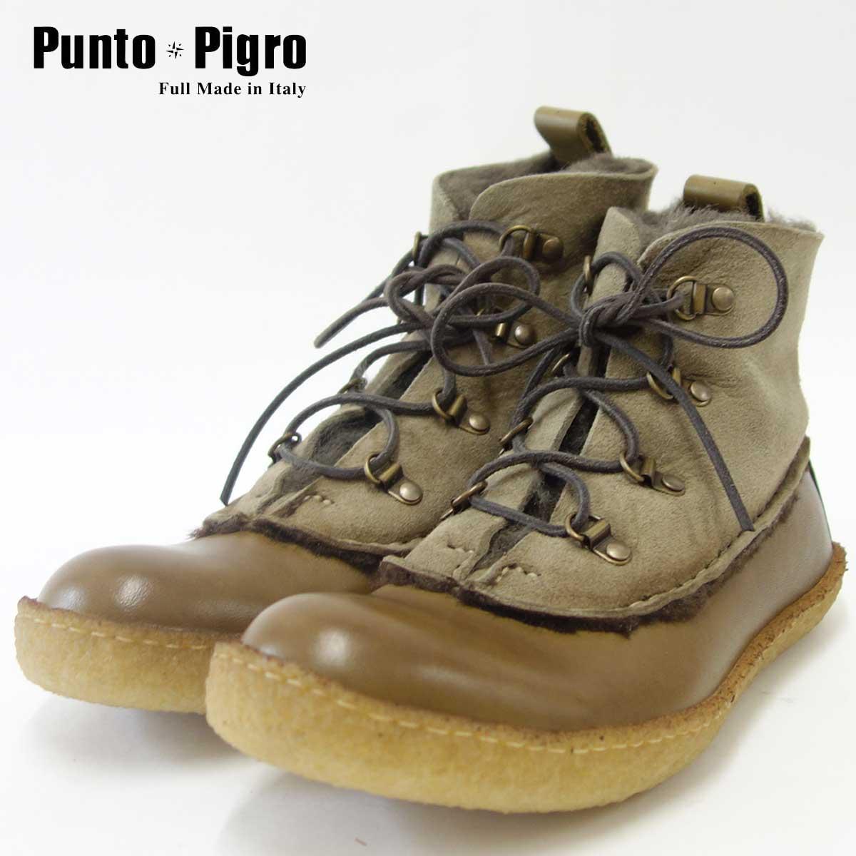 イタリア製ムートンブーツPunto Pigro プントピグロPMOUNTAIN カーキ「靴」