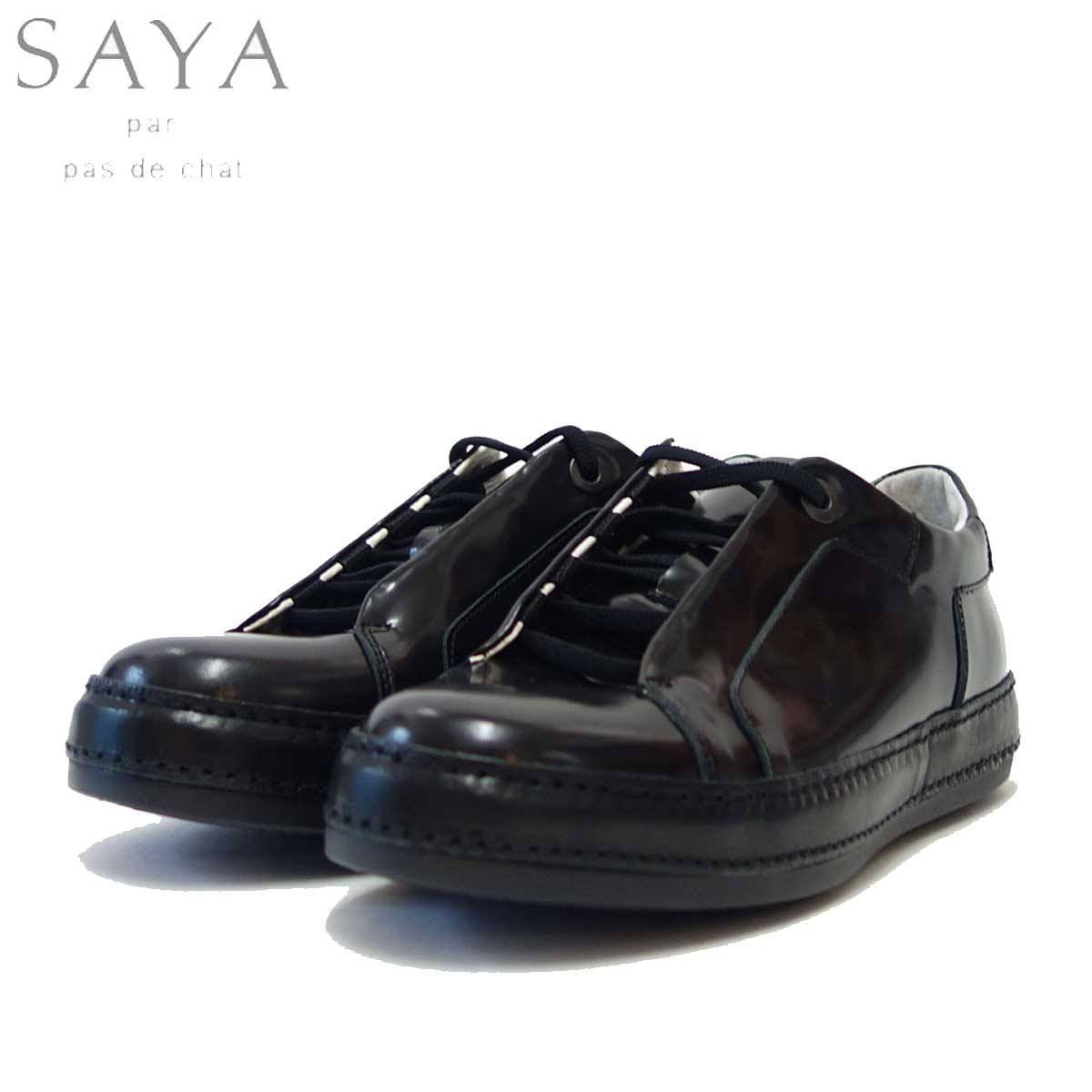 SAYA(サヤ) S50751 ブラック オパンケレースアップシューズ「靴」