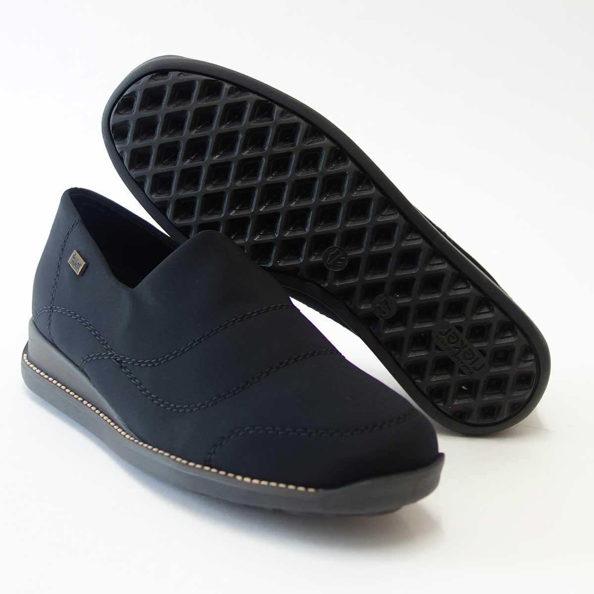 防水素材内蔵ストレッチシューズrieker リーカー 44260 ブラックドイツ生まれの快適フラットシューズ「靴」