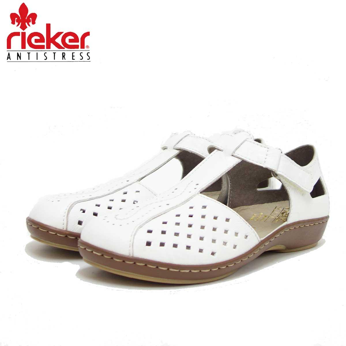 rieker リーカー 45866 80 ホワイト (レディース) クッション性の良いお洒落Tストラップシューズ 「靴」