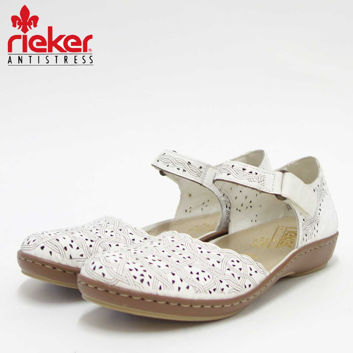 rieker リーカー 45887 80 ホワイト (レディース)クッション性の良いお洒落ストラップシューズ「靴」