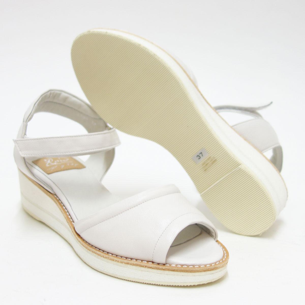 一足一足クラフト仕上げ(日本製)Row ロウ 1500 ホワイト上質レザーのストラップサンダル「靴」