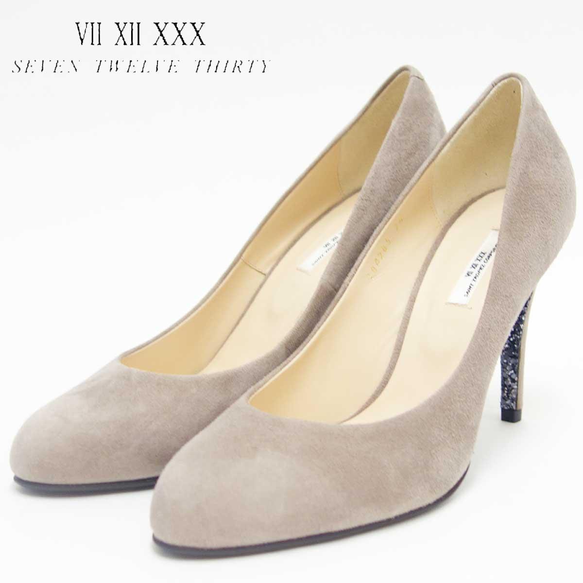 SEVEN TWELVE THIRTY セヴントゥエルヴサーティ 104285 オークスエード (9cmヒール)グリッターソールパンプス(日本製)「靴」