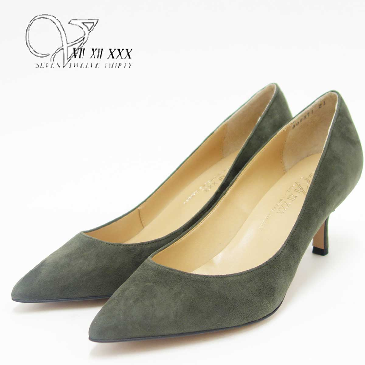 V SEVEN TWELVE THIRTY ヴイセヴントゥエルヴサーティ 308671 カーキスエード (6cmヒール)カラーシルキーポインテッドトゥパンプス(日本製)「靴」