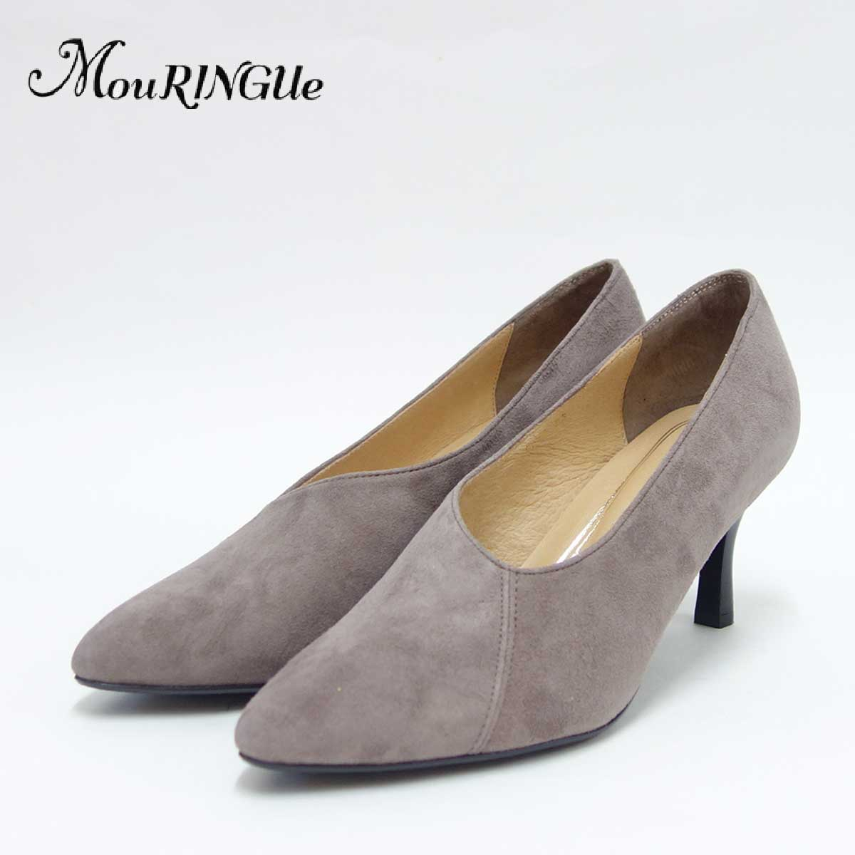 MouRINGUe ムラング Coeur519002 オークスエード (6.5cmヒール)ポインテッドトゥパンプス(日本製)「靴」