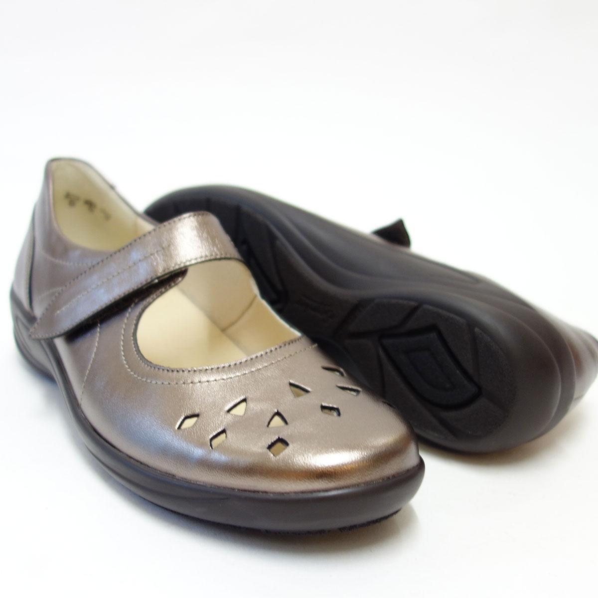 足をやさしく包み込む快適シューズSemler セムラー 6035 ブロンズゆったり幅で指先楽ちんシューズ「靴」