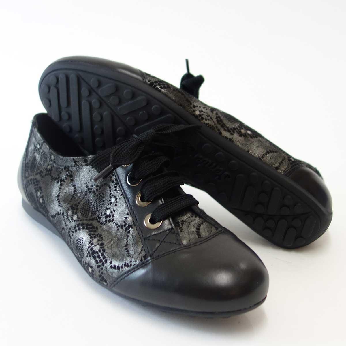 足をやさしく包み込む快適シューズSemler セムラー 6056 ブラックゆったり幅で指先楽ちんシューズ「靴」