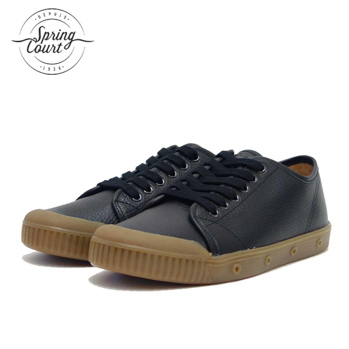 Spring Court スプリングコート G2S-6GL(レディース)G2 GRAINY LEATHER BLACK 天然皮革のローカットスニーカー 「靴」