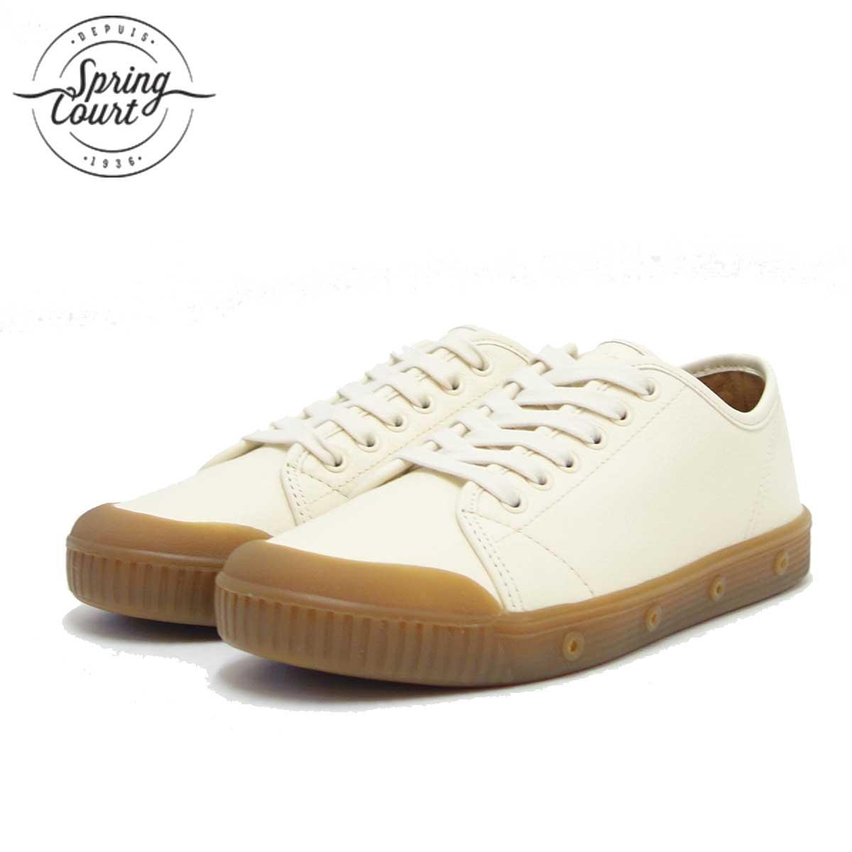 Spring Court スプリングコート G2N-6GL(メンズ)G2 GRAINY LEATHER OFF-WHITE 天然皮革のローカットスニーカー 「靴」