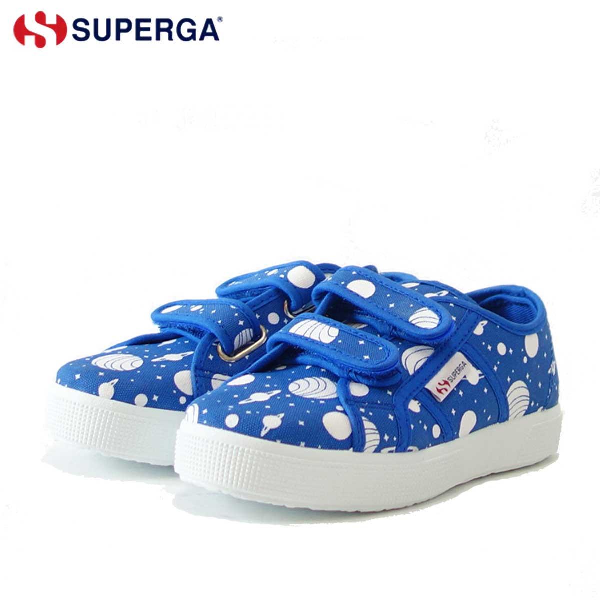 スペルガ SUPERGA 2750-FANCOTSTRAPJ TORCHIETTO(キッズ)Space Royal-White (S00GYE0) ナチュラルなキャンバススニーカー 「靴」