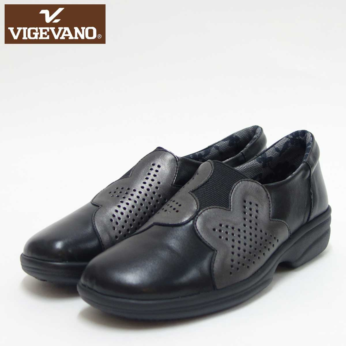 VIGEVANO ビジェバノ 2738 ブラック/メタリック(日本製)ゆったりEEEE スリッポンシューズ上質な天然皮革が優しく包み込みます「靴」