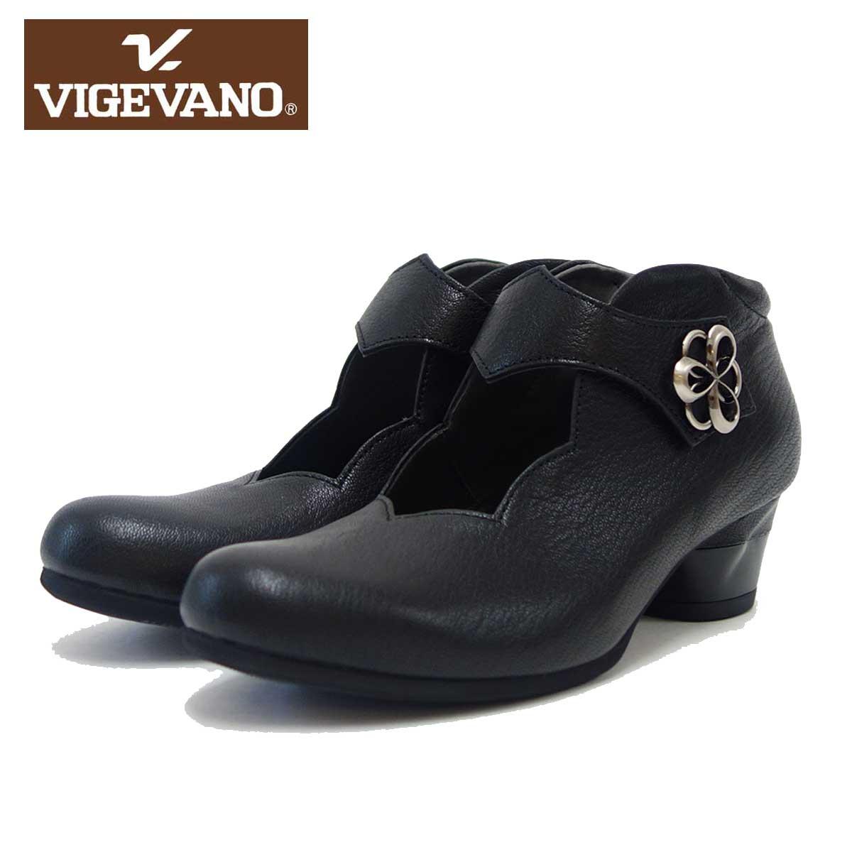 ビジェバノ VIGEVANO 7558 ブラック(日本製)ゆったりEEEE ストラップパンプス「靴」