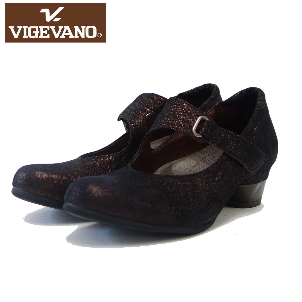 ビジェバノ VIGEVANO 7560 ブロンズ スエード(日本製)ゆったりEEEE ストラップパンプス「靴」