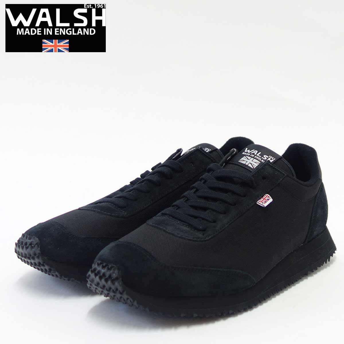 WALSH ウォルシュTOR50063(ユニセックス) Tornado 17カラー:BLACK(英国製) スエード&ナイロンのランニングスニーカー「靴」