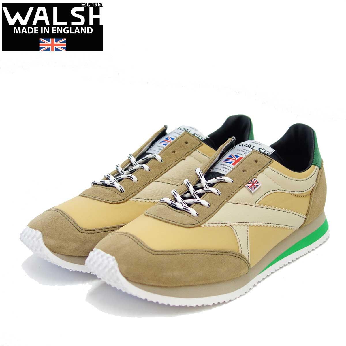 WALSH ウォルシュ TOR90201(ユニセックス) Tornado カラー:ベージュ/グリーン(英国製) スエード&ナイロンのランニングスニーカー 「靴」