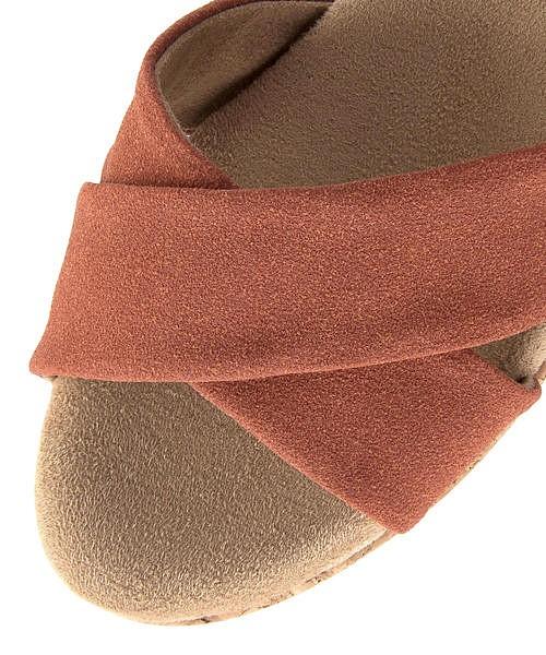 クロスベルト サンダル ウェッジソール 歩きやすい 疲れない レディース クッション性 美脚 カジュアル デイリー トレンド フェミニンカフェ Feminine Cafe 004708 オレンジ