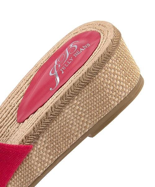 ミュール サンダル ヒール 歩きやすい 疲れない レディース リボン クッション性 美脚 カジュアル デイリー トレンド ジェリービーンズ Jelly Beans 204-42016 レッド