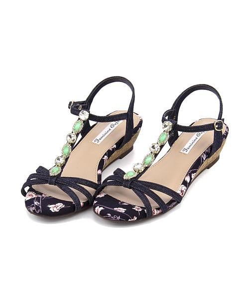 サンダル ウェッジソール 歩きやすい 疲れない レディース ビジュー付き クッション性 美脚 カジュアル デイリー トレンド フェミニンカフェ Feminine Cafe 23035 ネイビー