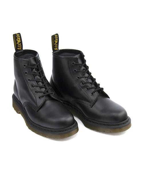 ドクターマーチン ショートブーツ メンズ コア 101 6ホール ブーツ クッション性 カジュアル デイリー ストリート CORE 101 6 EYE BOOT Dr.Martens 10064001 ブラックスムース