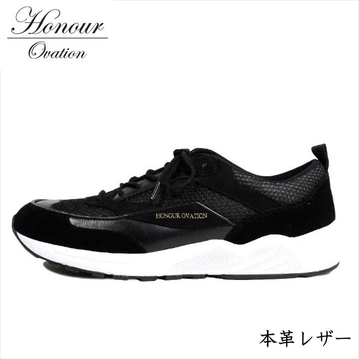 スニーカー メンズ ブランド 本革 レザー シューズ 靴 メンズ Honour Ovation アナーオベーション ブラック 黒 4070 RE Y_KO 181120