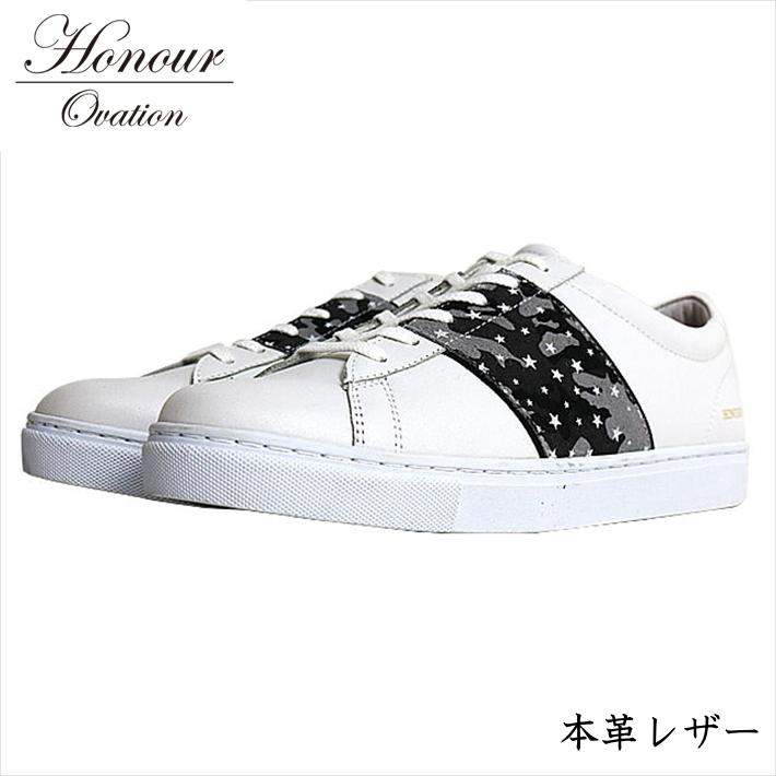 スニーカー メンズ ブランド 本革 レザー シューズ 靴 メンズ Honour Ovation アナーオベーション グレー 灰 迷彩 カモフラージュ 4040 RE Y_KO 181120