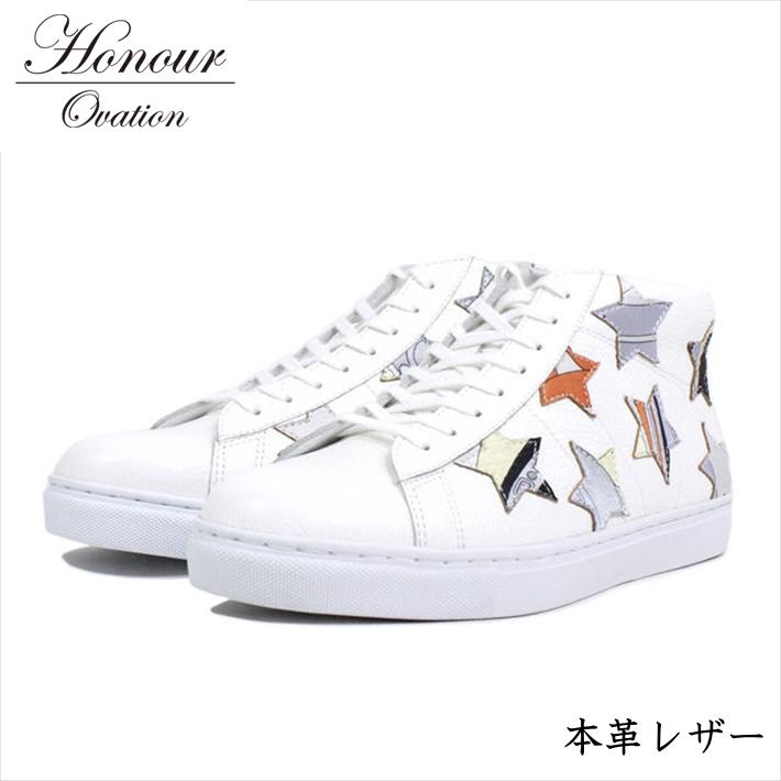 スニーカー メンズ ブランド 本革 レザー シューズ 靴 メンズ Honour Ovation アナーオベーション ホワイト 白 3070 RE Y_KO 181120