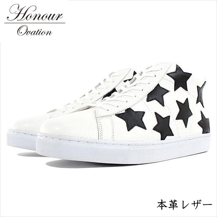 スニーカー メンズ ブランド 本革 レザー シューズ 靴 メンズ Honour Ovation アナーオベーション ホワイト 白 ブラック 黒 3070 RE Y_KO 181120