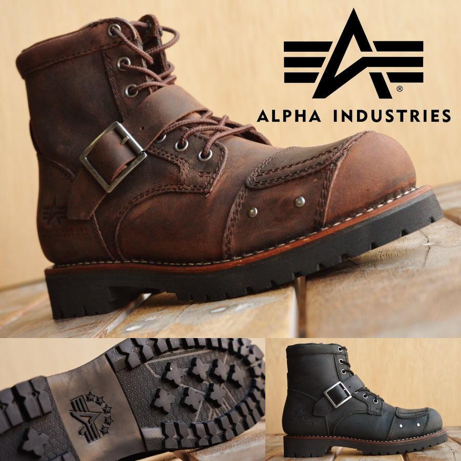 Alpha Industries アルファ インダストリーズ 本革 バイカー ブーツ メンズ AFB-20021 【SHA】
