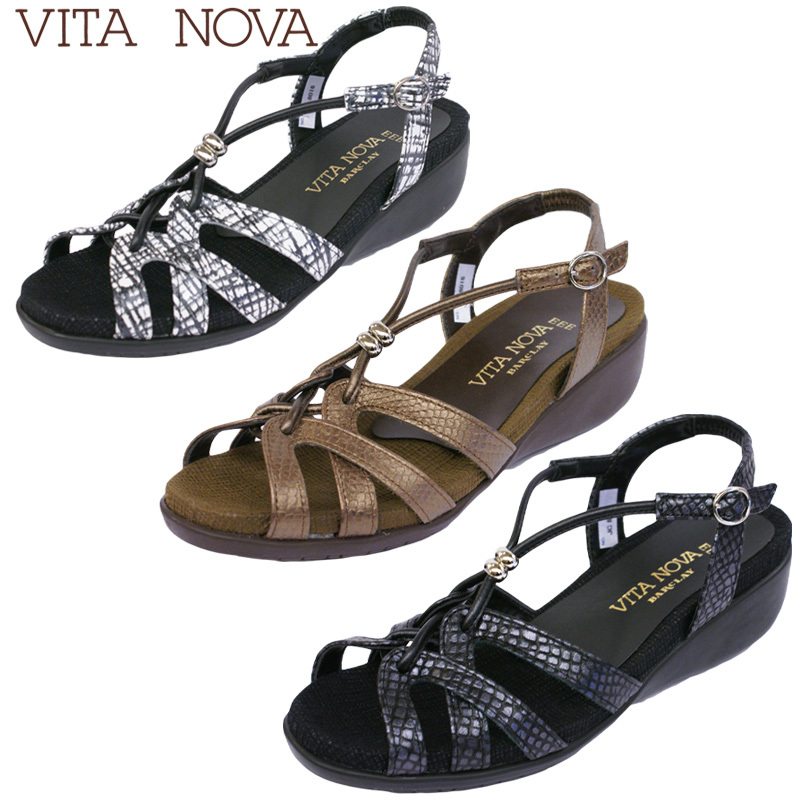 【送料無料】《VITA NOVA ヴィタノーバ》 8016 新しいライフスタイルを提案するレディースブランドゆったり幅のEEEのリゾートサンダルです♪
