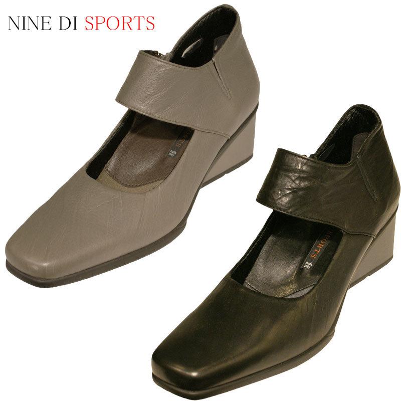 【送料無料】《NINE DI SPORTS ナインディスポーツ》4030 ブラック合わせやすさと履き心地の良さがコンセプトの日本製レディースシューズ・ブランド軽くて滑りにくいウレタン製ウェッジソールのタウンシューズです