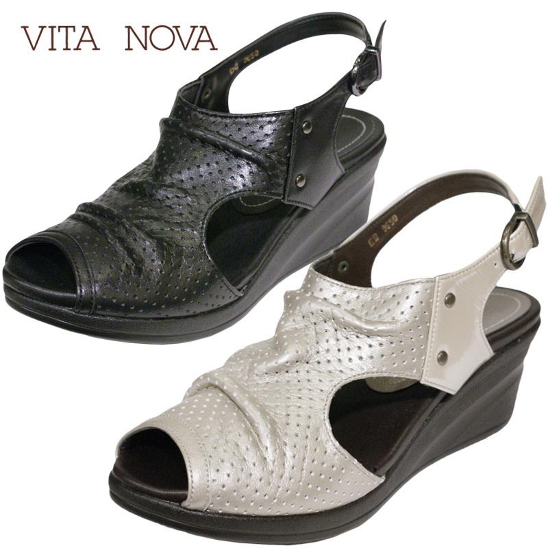 【送料無料!】《VITA NOVA ヴィタノーバ》 9650 新しいライフスタイルを提案するレディースシューズ・ブランドゆったり幅のEEEのスタイリッシュな5.5cmのウェッジソールタウンサンダルです