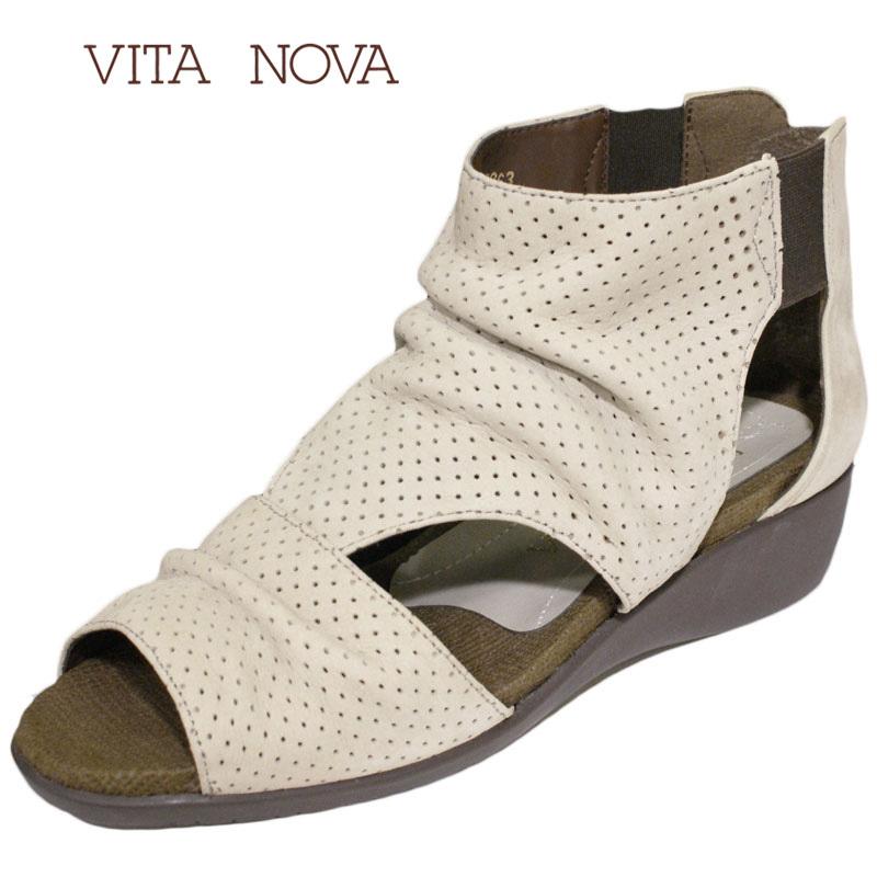 【送料無料!】《VITA NOVA ヴィタノーバ》 8863 アイボリー  新しいライフスタイルを提案するレディースシューズ・ブランド ゆったり幅のEEE スタイリッシュなサマーブーツです