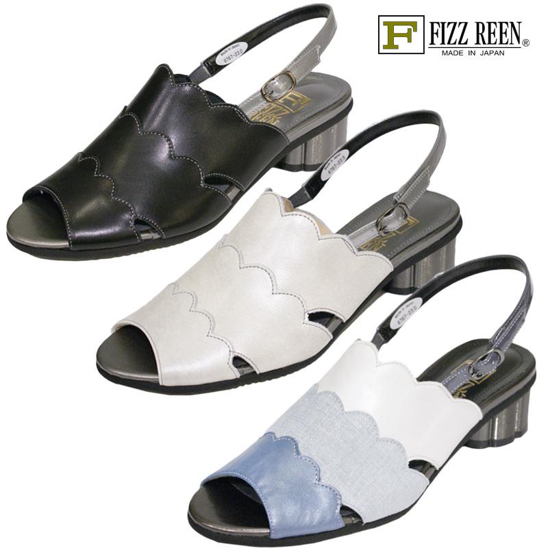 【23.0cm】【23.5cm】【24.0cm】FIZZ REEN フィズリーン 6767 魅せるデザインと歩きやすく痛くならない信頼の日本製レディースシューズ・ブランド ゆったりEEE幅のローヒールデザインサンダルです
