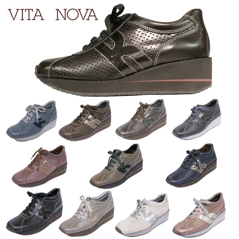 【送料無料】《VITA NOVA ヴィタノーバ》 6967 新しいライフスタイルを提案するレディースシューズ・ブランドゆったり幅のEEE ラウンドトゥの人気厚底タウンシューズです