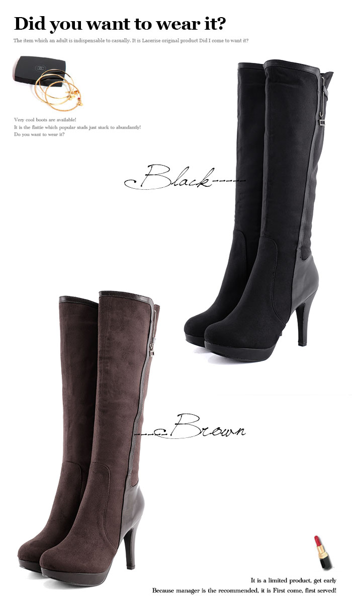 f29e96970ee It is a boot in boots winter in pin heel long boots Shin pull thickness  bottom Lady's 25cm black high-heeled shoes 10cm 11cm back raised suede big  ...