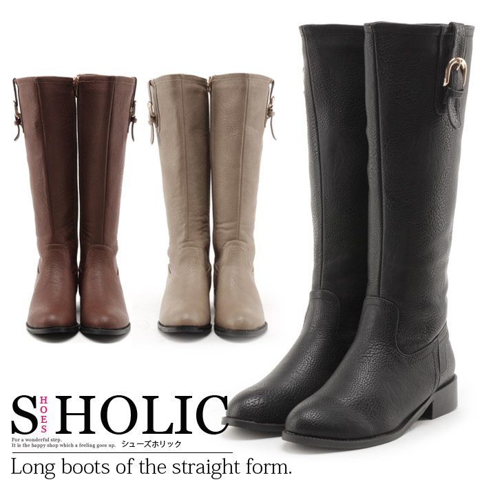 3e53542fdd1 Knee high boots Jockey boots straight side belt low heel elegance elegant knee  high boots zipper adult selenge simple design Black Womens shoes ☆ dk-25 ☆