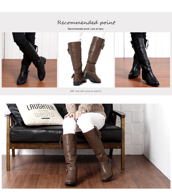 All jockey boots ★ long boots engineer casual season round toe black black / dark brown brown / big size 3L Lady's shoes ★ ff-109 new work boots disguise clothes with the belt