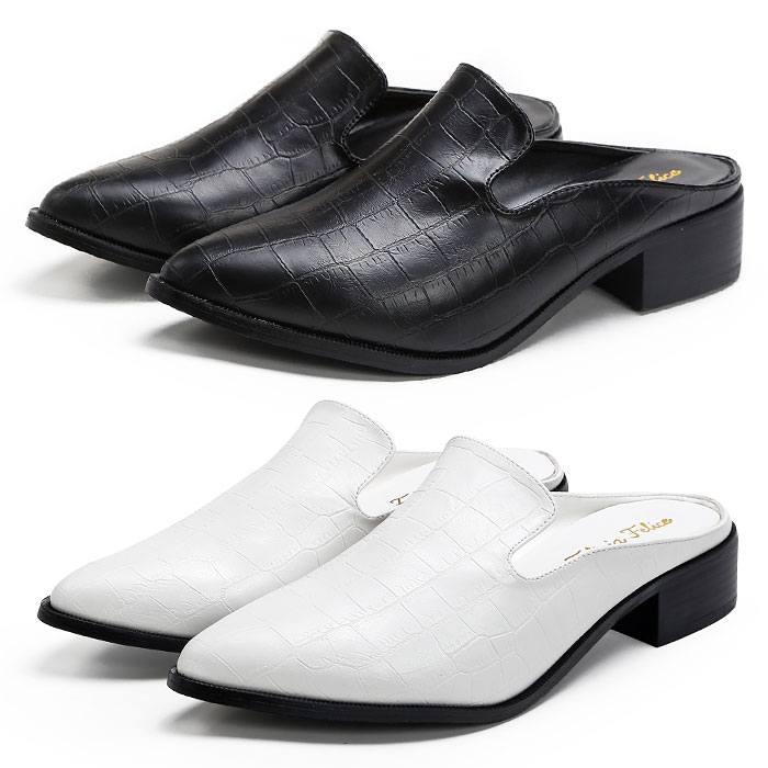 あす楽 日本製 さっと履けるバブーシュタイプの上品なおじ靴 ローヒールで歩きやすいからお出かけにもおすすめ コーディネイトに合わせやすいブラックホワイト スリッポン ローファー マニッシュシューズ バブーシュ クロコ型押し 3cmヒール ブラック 黒 返品送料無料 ホワイト白 レディース靴 シューズホリック 大きいサイズ P コスプレ パンプス tm-155 3L SHOESHOLIC おじ靴