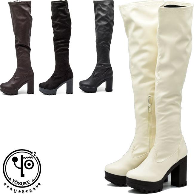 本物◆ あす楽 定価の67%OFF 送料無料 ロングブーツ 靴 レディース YOSUKE U.S.A ヨースケ 4320032 S-LL ストレッチブーツ 全4色 ニーハイ 厚底ブーツ ニーハイブーツ