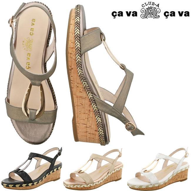 cavacava cava cava サバサバ サヴァサヴァ厚底サンダル ウェッジソール ストラップ レディース 1320189