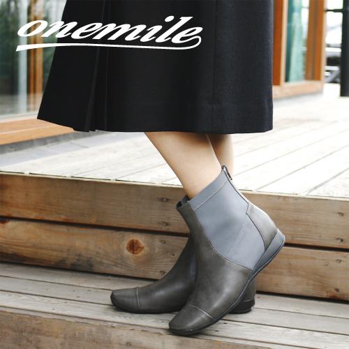 【ワンマイル】Onemileレディースショートブーツ OM-400 バックファスナー フラット ふかふかインソール 歩きやすい