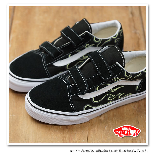 16c88e4dfab0da VANS vans kids sneakers KIDS OLD SKOOL V kids old school Velcro (GLOW FLAME)  BLACK TRUE WHITE (VN-0VHEESY FW14) shoetime
