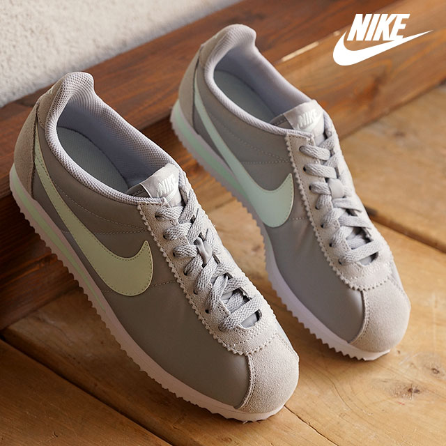 NIKE Nike Womens sneakers WMNS CLASSIC CORTEZ 15 NYLON womens classic  Cortez nylon 15 Wolf grey  fiberglass  white (457226-031 FW15)