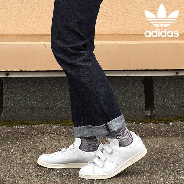 日本限定adidas Originals阿迪达斯原始物Stan Smith铃黑舒服运动鞋STAN SMITH CF TF白/白/黄金AQ5358 FW15