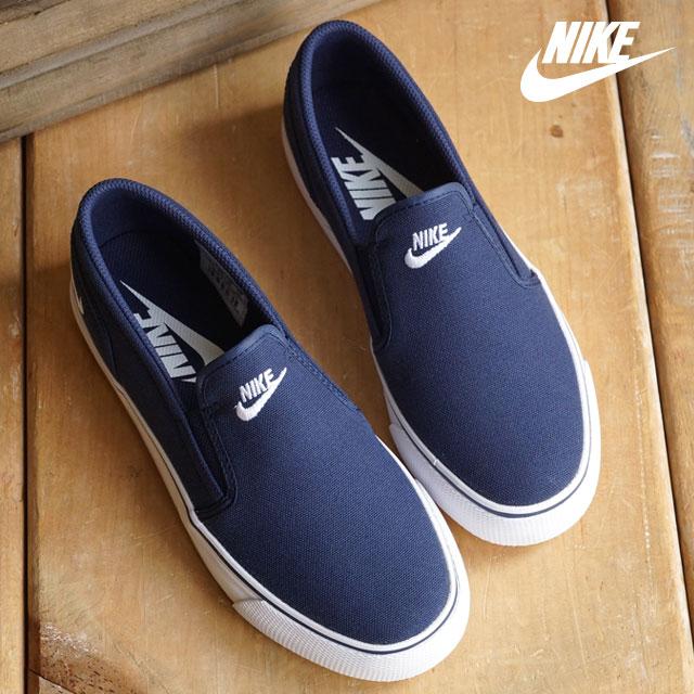 NIKE Nike women gap Dis sneakers slip-ons TOKI SLIP TXT Toki slip TXT  midnight navy   white (724 63b448f45